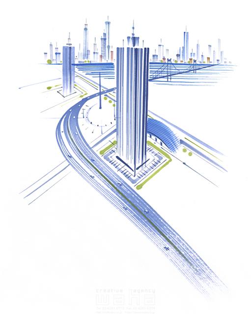 イラスト&写真のストックフォトwaha(ワーハ) 街、社会、ビル、未来、テクノロジー、風景、複数、集合、並ぶ、街並み、近未来的、近未来都市、ビル、都会的、建物、将来、新しい、成功、成長、開発、上昇、グローバル、国際的、創造、信頼、建設、流れる、広がる、スピード感、勢い、道路、走る 小沢和夫イラスト工房 11-0707c