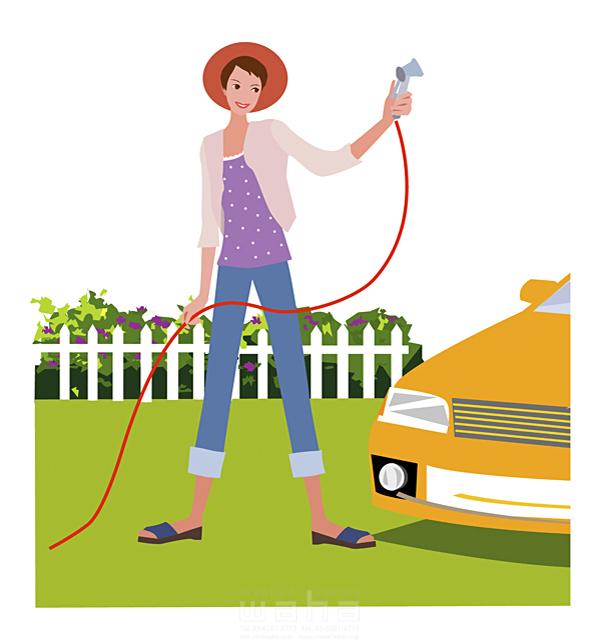 イラスト&写真のストックフォトwaha(ワーハ) 女性、ガレージ、洗車、洗う、シャワーホース、清潔感、帽子、庭園、芝生 海野 富子 15-0376c