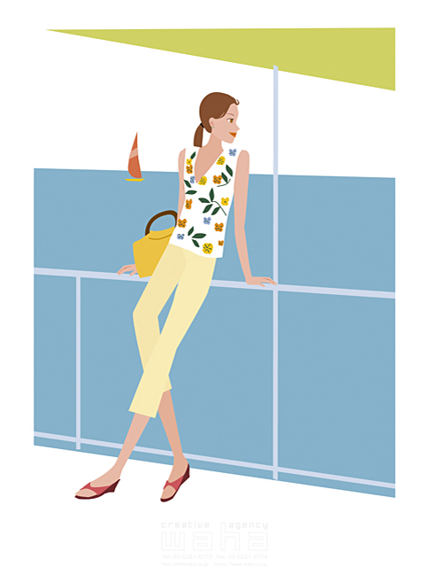 イラスト&写真のストックフォトwaha(ワーハ) 女性、外出、開放感、リラックス、埠頭、港、海浜公園、遊覧船、フェリー、クルージング、甲板、海岸、ヨット 海野 富子 15-0378c