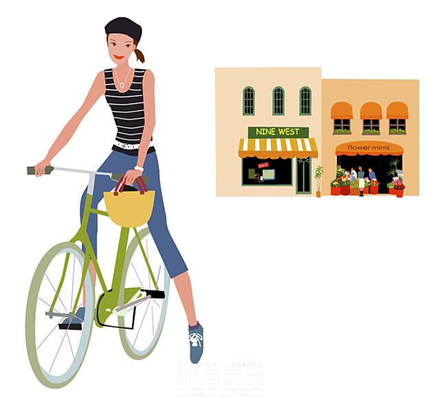 イラスト&写真のストックフォトwaha(ワーハ) 女性、外出、ショッピング、乗り物、サイクリング、街、ストリート、店、ベレー帽子 海野 富子 15-0379c