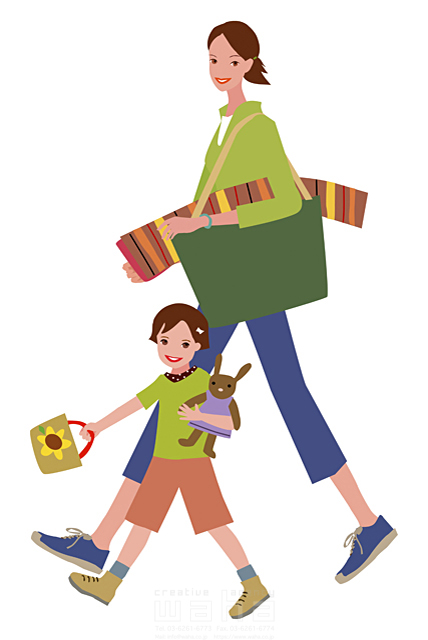 イラスト&写真のストックフォトwaha(ワーハ) 家族、親子、2人、母、子供、外出、ピクニック、楽しい、嬉しい、歩く、前進、レジャーシート、ぬいぐるみ、元気 海野 富子 15-0380c