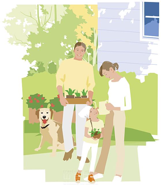 イラスト&写真のストックフォトwaha(ワーハ) 人物、家族、父、母、娘、3人、ペット、犬、屋外、住宅、庭、ガーデニング 都筑 みなみ 16-0029c