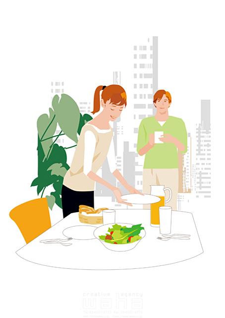 イラスト&写真のストックフォトwaha(ワーハ) 人物、夫婦、屋内、植物、住宅、マンション、リビング、ダイニング、主婦、家事、料理、20代、30代 都筑みなみ 17-0079cx