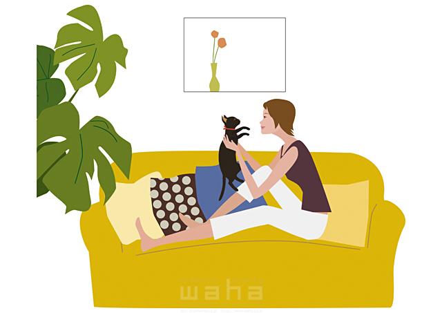 イラスト&写真のストックフォトwaha(ワーハ) 人物、女性、室内、リビング、ソファ、座る、ペット、猫、植物、リラックス、窓 海野 富子 17-0150b