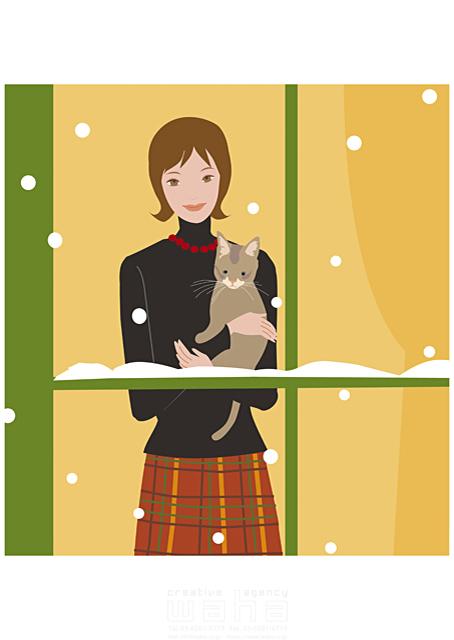 イラスト&写真のストックフォトwaha(ワーハ) 人物、女性、室内、窓、ペット、猫、抱く、冬、雪 海野 富子 17-0153c