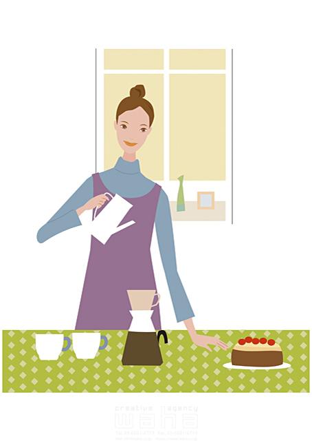 イラスト&写真のストックフォトwaha(ワーハ) 人物、女性、主婦、室内、リビング、ダイニング、テーブル、家事、ケーキ、コーヒー、窓 海野 富子 17-0155b