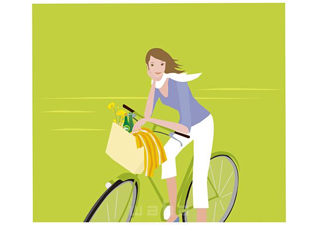イラスト&写真のストックフォトwaha(ワーハ) 人物、女性、屋外、乗り物、自転車、立つ、植物 海野 富子 17-0158b