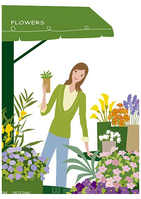 イラスト&写真のストックフォトwaha(ワーハ) 人物、女性、屋外、街、店、花屋、植物、花、鉢植え 海野 富子 17-0164c