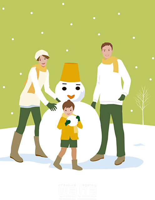 イラスト&写真のストックフォトwaha(ワーハ) 人物、親子、父、母、息子、屋外、冬、雪、雪だるま、植物、木、ハート 海野 富子 18-2641b