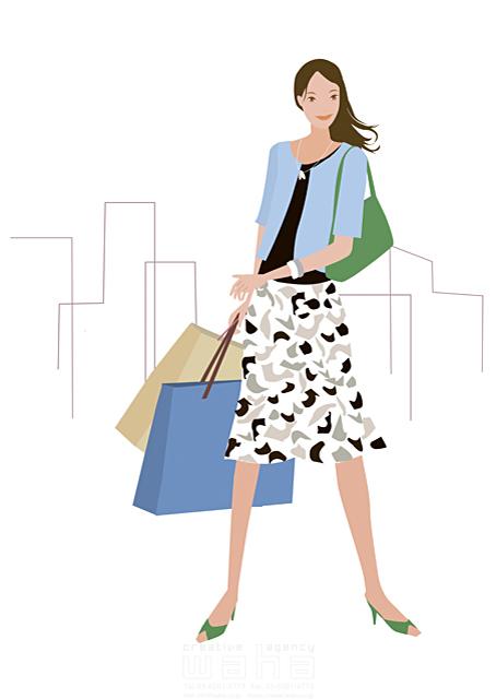 イラスト&写真のストックフォトwaha(ワーハ) 人物、女性、30代、1人、屋外、ショッピング、セール、ショッピングバッグ、紙袋、都会、街、おしゃれ、ファッション、白バック 海野 富子 18-3072b