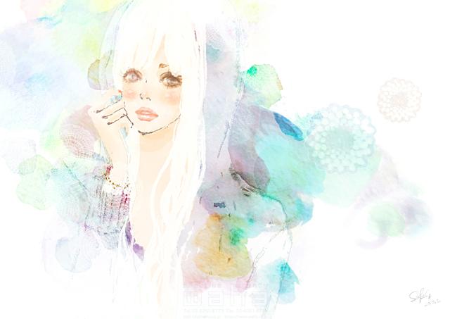 人物 女性 10代 代 1人 かわいい 花 おしゃれ 水彩 やわらか 柔らか 淡い イラスト作品紹介 イラスト 写真のストックフォトwaha ワーハ カンプデータは無料