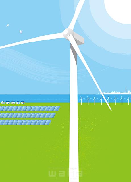 イラスト&写真のストックフォトwaha(ワーハ) 風景、エコ、環境、エネルギー、空、青空、海、太陽、ソーラー、資源、電力、発電、風力、風車、イメージ、未来 小沢和夫イラスト工房 18-5010b