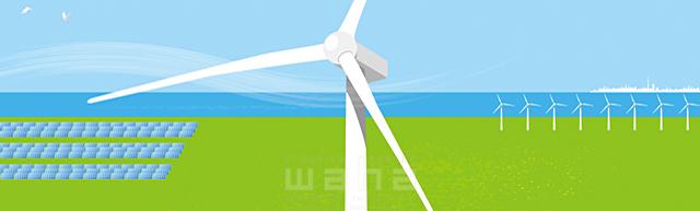 イラスト&写真のストックフォトwaha(ワーハ) 風景、エコ、環境、エネルギー、空、青空、海、太陽、ソーラー、資源、電力、発電、風力、風車、イメージ、未来 小沢和夫イラスト工房 18-5013b