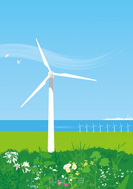 イラスト&写真のストックフォトwaha(ワーハ) 風景、エコ、環境、エネルギー、空、青空、資源、電力、発電、風力、風車、イメージ、未来、自然、植物、緑、海 小沢和夫イラスト工房 18-5017b