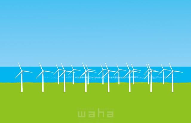 イラスト&写真のストックフォトwaha(ワーハ) 風景、エコ、環境、エネルギー、空、青空、資源、電力、発電、風力、風車、イメージ、未来、海 小沢和夫イラスト工房 18-5018b