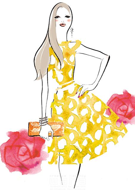 人物 女性 ドレス バッグ 花 イラスト作品紹介 イラスト 写真のストックフォトwaha ワーハ カンプデータは無料