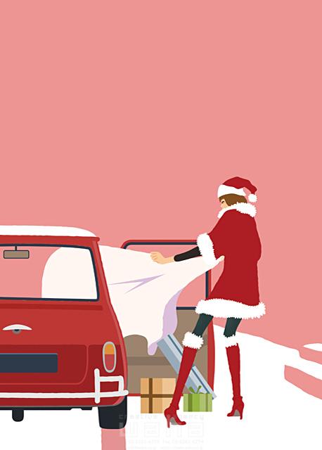 人物 女性 クリスマス サンタガール 自動車 プレゼント 袋 イラスト作品紹介 イラスト 写真のストックフォトwaha ワーハ カンプデータは無料