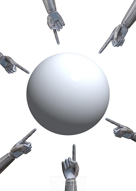イラスト&写真のストックフォトwaha(ワーハ) ロボット、機械、メカ、球体、丸、テクノロジー、知恵、手、指、指差し、注目、メッセージボード、未来、3D、案内 野林 賢太郎 18-6729c