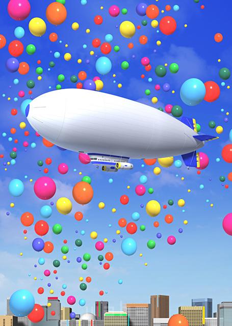 イラスト&写真のストックフォトwaha(ワーハ) 街、風船、ビル、都市、都会、飛行船、3D、未来、バルーン、メッセージボード、イベント 野林 賢太郎 18-6731c