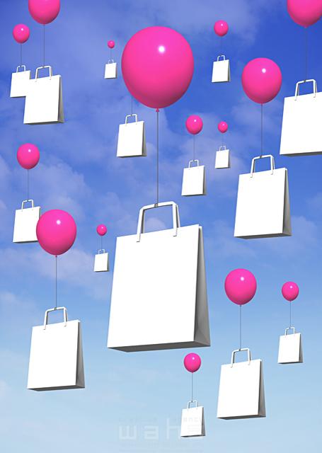 イラスト&写真のストックフォトwaha(ワーハ) バーゲン、風船、ショッピング、ショッピングバッグ、バーゲン、3D 野林 賢太郎 18-6741b