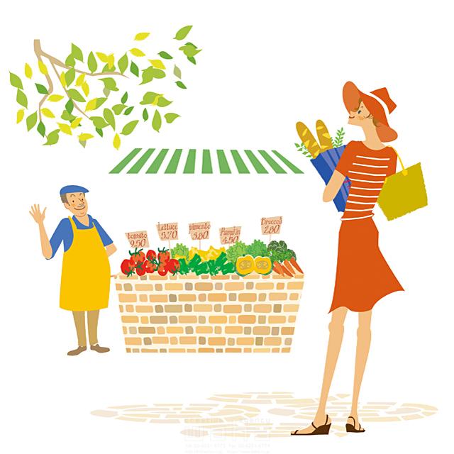 人物、女性、マルシェ、ショッピング、街、お洒落、市場、野菜 - イラスト作品紹介 | イラスト &写真のストックフォトwaha(ワーハ)―カンプデータは無料
