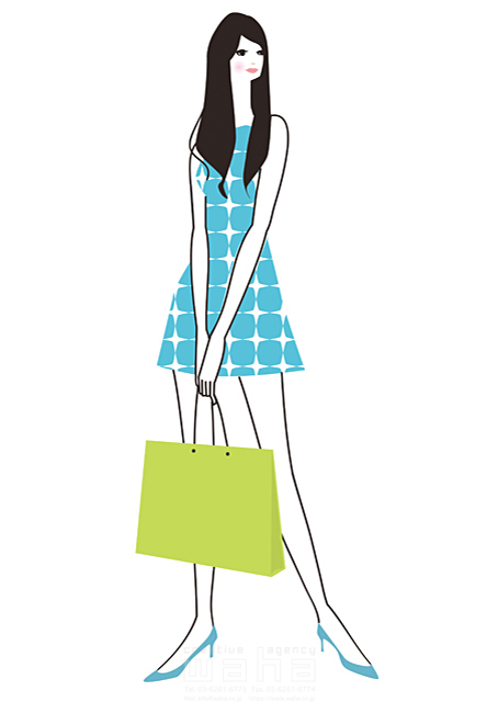 イラスト&写真のストックフォトwaha(ワーハ) 人物、女性、10代、20代、30代、ショッピング、シッピングバッグ、街、町、まち、バーゲン、ファッション、OL、洋服、フェア、セール、イベント、オシャレ、若者、ブティック、秋、冬 小倉 あん 19-0331b