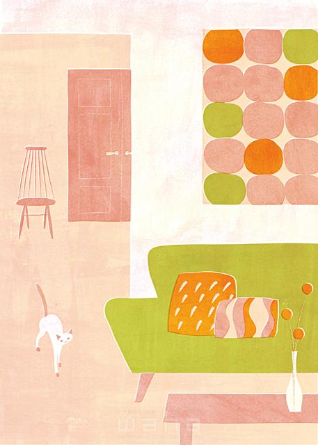 イラスト&写真のストックフォトwaha(ワーハ) インテリア、リビング、部屋、屋内、室内、暮らし、ペット、猫、生活、日常、椅子、ソファー、水彩、家具、ロハス Ananas Works 19-0339c