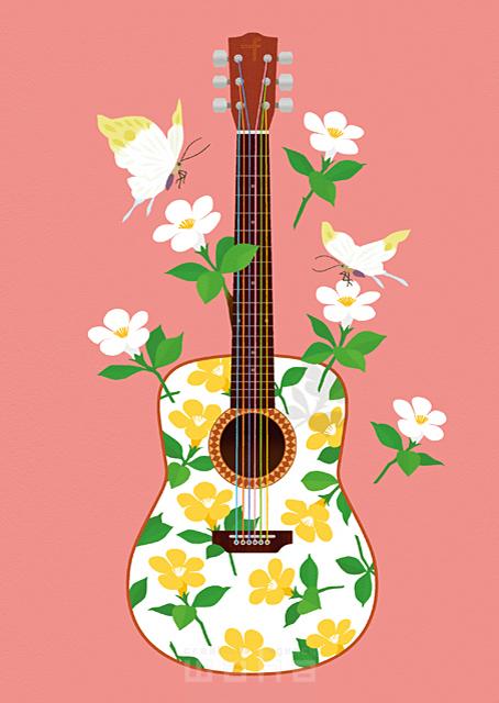 イラスト&写真のストックフォトwaha(ワーハ) イメージ、ギター、楽器、花、植物、蝶、音楽、演奏、楽しい、賑やか、春、シンボリック、白い花 eka 19-0686b