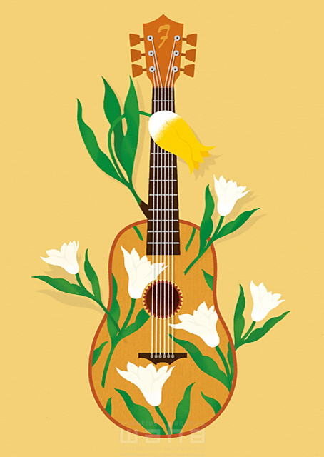 イラスト&写真のストックフォトwaha(ワーハ) イメージ、ギター、楽器、花、植物、蝶、音楽、演奏、楽しい、賑やか、春、シンボリック、生活、暮らし、日常 eka 19-0840b
