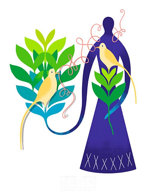 イラスト&写真のストックフォトwaha(ワーハ) 鳥、エコロジー、木、植物、シルエット、つながり、女性、人物イメージ、コミュニケーション eka 19-0975b