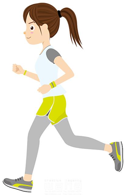 イラスト&写真のストックフォトwaha(ワーハ) 人物、女性、走る、スポーツ、ランニング、健康、ジョギング、ダイエット、運動、10代、20代、30代 Cobalt 19-1078b