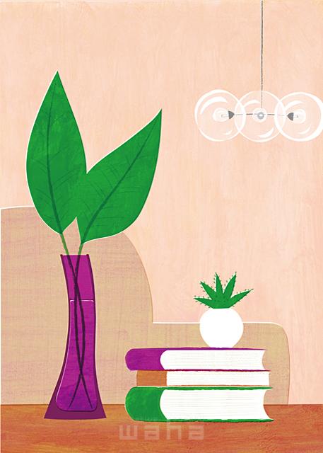 イラスト&写真のストックフォトwaha(ワーハ) インテリア、リビング、リラックス、休日、読書、モダン、住宅、家、室内、観葉植物、趣味 Ananas Works 19-1564b