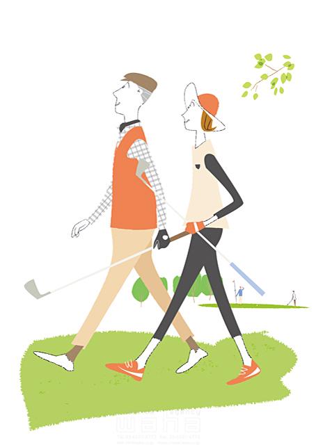 イラスト&写真のストックフォトwaha(ワーハ) スポーツ、人物、シニア、夫婦、ゴルフ、趣味、休日、男性、女性 相田 洋 19-1641b