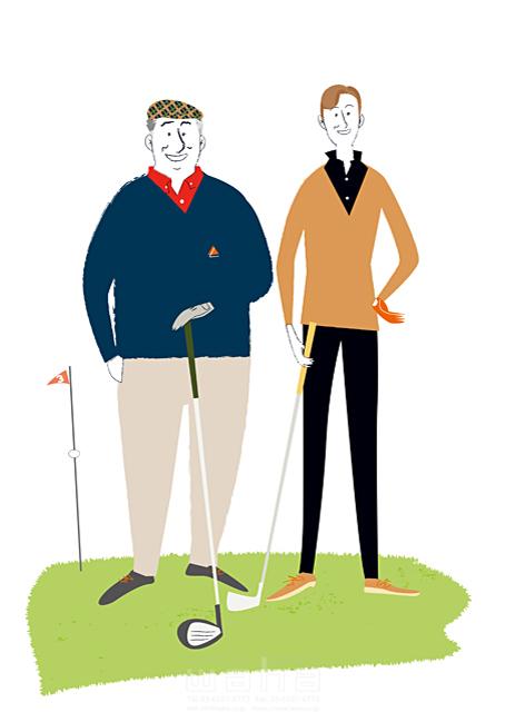 イラスト&写真のストックフォトwaha(ワーハ) スポーツ、人物、ゴルフ、趣味、休日、男性 相田 洋 19-1642b