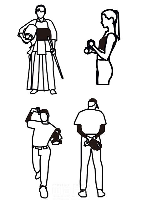 イラスト&写真のストックフォトwaha(ワーハ) スポーツ、人物、インフォメーションイラスト、カット、野球、健康、男性、女性、筋トレ、剣道 都筑 みなみ 19-1648b