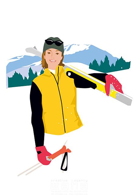 イラスト&写真のストックフォトwaha(ワーハ) スポーツ、人物、スキー、趣味、休日、女性、旅行、冬 都筑 みなみ 19-1660c
