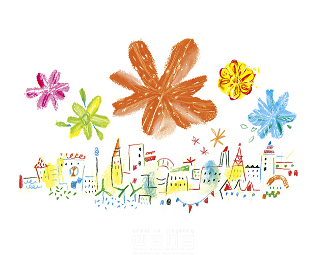 イラスト&写真のストックフォトwaha(ワーハ) 夏、街並み、町並み、都会、明るい、楽しい、希望、エコロジー、植物、花 たに・ちか 19-1750c