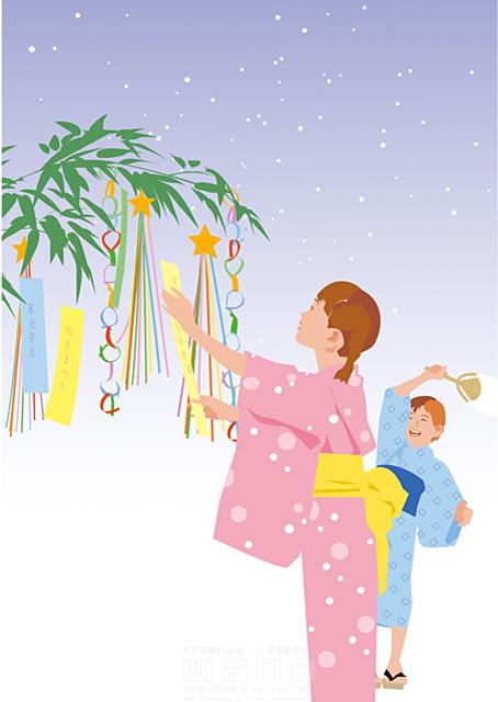 イラスト&写真のストックフォトwaha(ワーハ) 夏、季節、イベント、七夕、お祭り、希望、願い、和風、日本、浴衣、子供、小学生、家族 都筑 みなみ 19-1754c