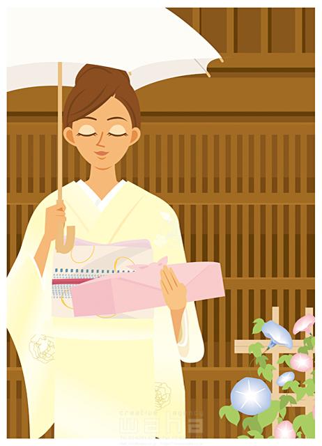 19-1760b 両口 実加 夏、お中元、あいさつ、季節、和服、和風、着物、奥さん、主婦、お母さん
