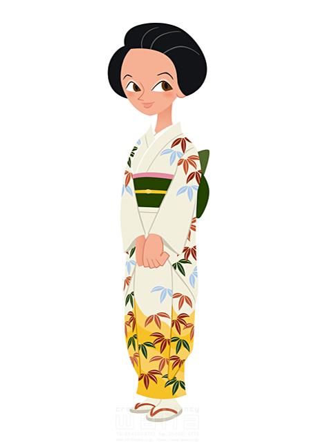 イラスト&写真のストックフォトwaha(ワーハ) 人、人物、大人、女性、日本人、黒髪、日本、和服、着物、和装、白 両口 和史 19-1778b