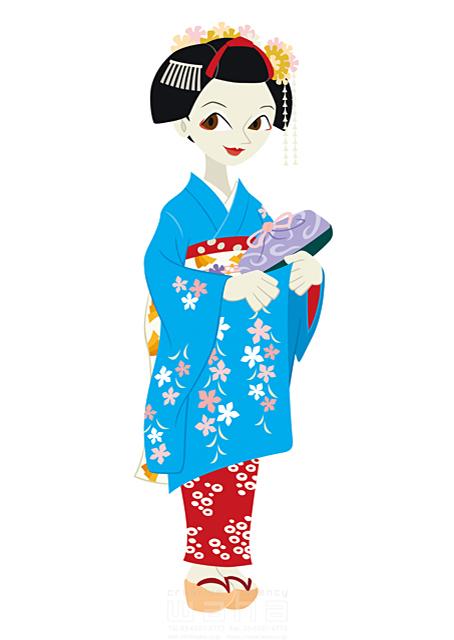 19-1780b 両口 和史 人、人物、大人、女性、日本人、黒髪、日本、和服、着物、和装