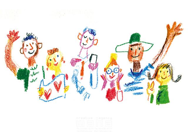 クレヨン画 人 人物 大人 男性 女性 男女 外国人 6人 ピースサイン 集団 笑顔 友達 あいさつ コミュニケーション 仲良し 仲間 イラスト作品紹介 イラスト 写真のストックフォトwaha ワーハ カンプデータは無料