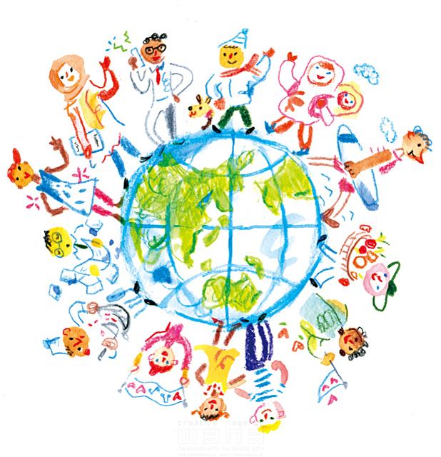 イラスト&写真のストックフォトwaha(ワーハ) 色鉛筆、水彩、人、人物、大人、子供、男性、女性、男女、地球、世界、外国人、集団、笑顔、友達、楽しい、グローバル、平和 たに・ちか 19-1822c