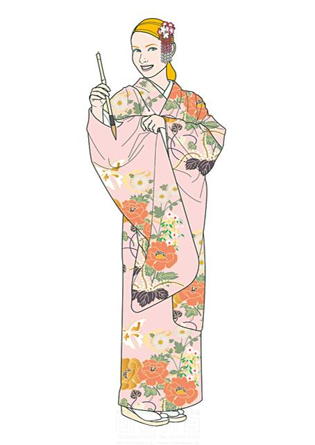 イラスト&写真のストックフォトwaha(ワーハ) 人、人物、大人、女性、外国人、白人、欧米、金髪、ブロンド、着物、和装、和服、筆、習字、笑顔、体験、観光、旅行、日本 さとう ただし 19-1826b