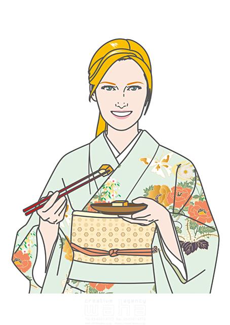 イラスト&写真のストックフォトwaha(ワーハ) 人、人物、大人、女性、外国人、白人、欧米、金髪、ブロンド、着物、和装、和服、和食、箸、笑顔、体験、観光、旅行、日本 さとう ただし 19-1827b