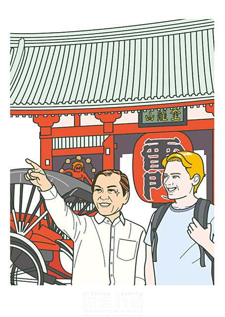 イラスト&写真のストックフォトwaha(ワーハ) 人、人物、大人、男性、日本人、黒髪、外国人、白人、欧米、金髪、ブロンド、指差し、話す、道案内、笑う、観光、浅草、浅草寺、雷門、人力車 さとう ただし 19-1831c