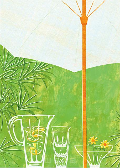 イラスト&写真のストックフォトwaha(ワーハ) インテリア、花、植物、グラス、ベランダ、テラス、屋外、室外、生活、日常、暮らし、ロハス、テーブル、緑、パラソル、南国、観葉植物、家、住宅 Ananas Works 19-1862b