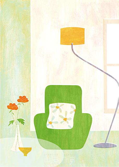 イラスト&写真のストックフォトwaha(ワーハ) インテリア、ソファ、花、植物、リビング、屋内、室内、生活、日常、暮らし、ロハス、テーブル、緑、モダン、ランプ Ananas Works 19-1867b