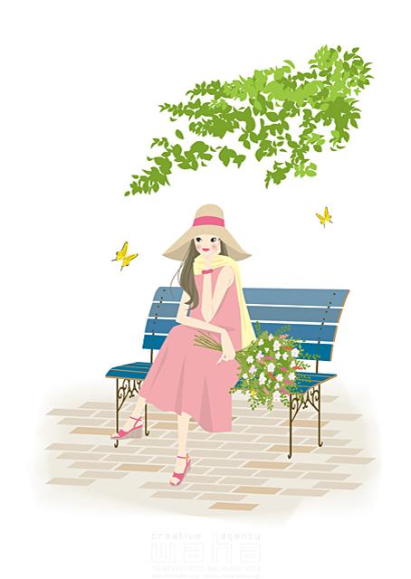 イラスト&写真のストックフォトwaha(ワーハ) 人、人物、大人、若者、女性、花、花束、植物、暮らし、生活、公園、ベンチ、木陰、おしゃれ、帽子、屋外、休日、春 いとう まちこ 19-1872c