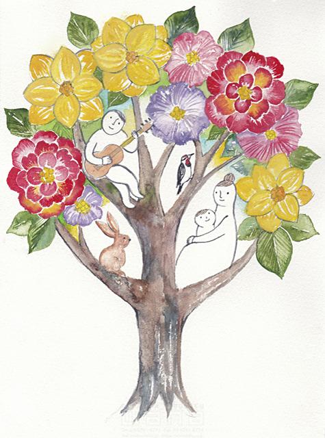 イラスト&写真のストックフォトwaha(ワーハ) 水彩、人、人物、大人、男性、女性、親子、父、母、子供、家族、花、植物、イメージ、咲く、春、樹、木、樹木、育つ、動物、うさぎ、鳥、愛情 ささき みえこ 19-1878c
